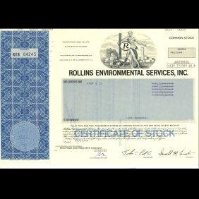1980s Rollins Intl Stock Certif Scarce Blue