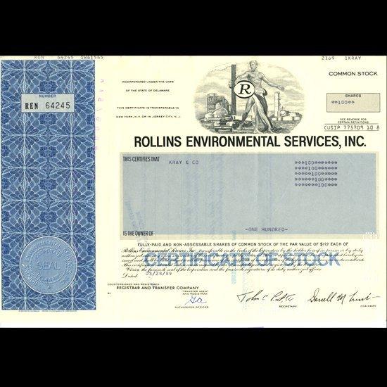 62: 1980s Rollins Intl Stock Certif Scarce Blue