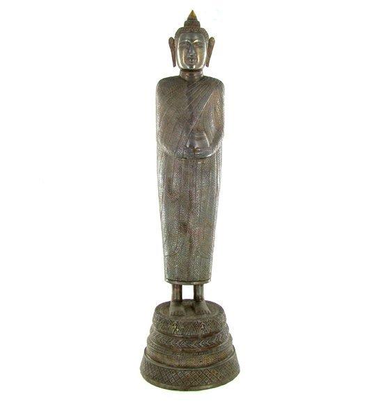 1492: Rare Antique 1800s Silver/Bronze Cambodian Buddha