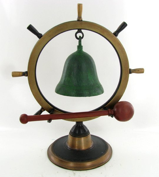 2040: Bronze Ship's Wheel With Bell and Clapper