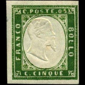 1855 RARE Italy Sardina 5c Stamp MINT NG