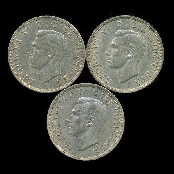 55: 1941-42 Britain Silver 1/2 Crown AU 3pcs