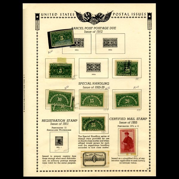 60: 1912 US Stamp Album Page 9pcs