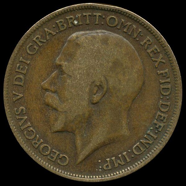 62: 1919 British Geo V 1p F/VF ERROR