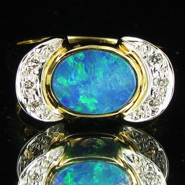 67: 20.05twc Opal Diamond 14k Gold Ring