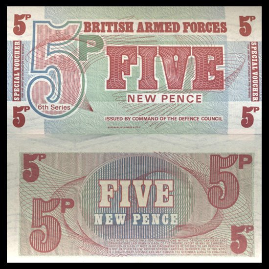99: 1972 5 Pence Military Note Crisp Uncirculated