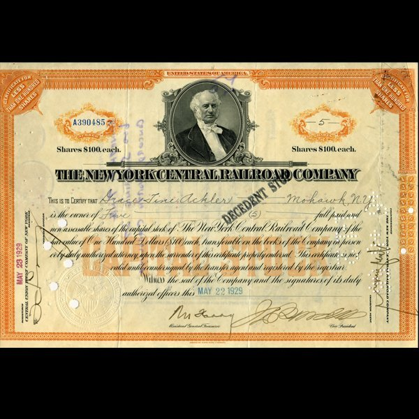 100: 1929 NY Central Railroad Stock Cert w/ SCARCE Tran