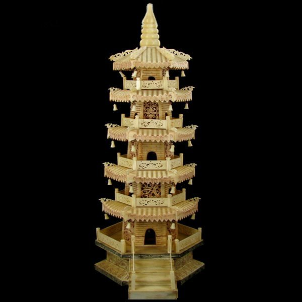 2064: Chinese Handcarved Bone Multi-level Pagoda