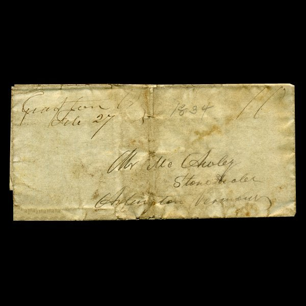 1872: 1837 Arlington VT Stampless Cover SCARCE