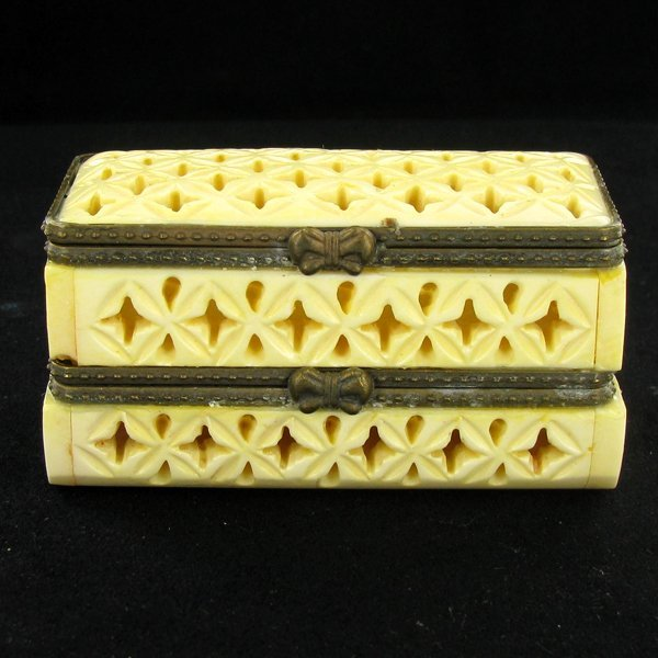30: Chinese Handcarved Bone Double Gem Box