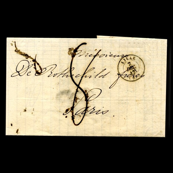 42: 1842 France Lille Stampless Cover SCARCE
