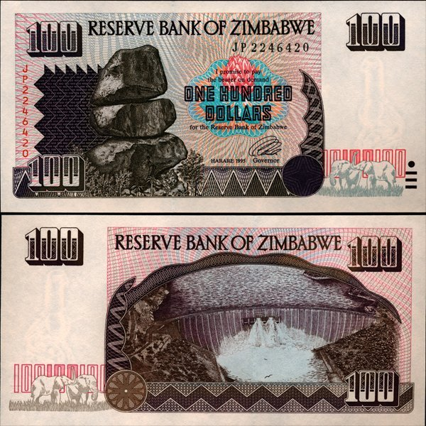 64: 1994 Zimbabwe $100 Note Crisp Unc