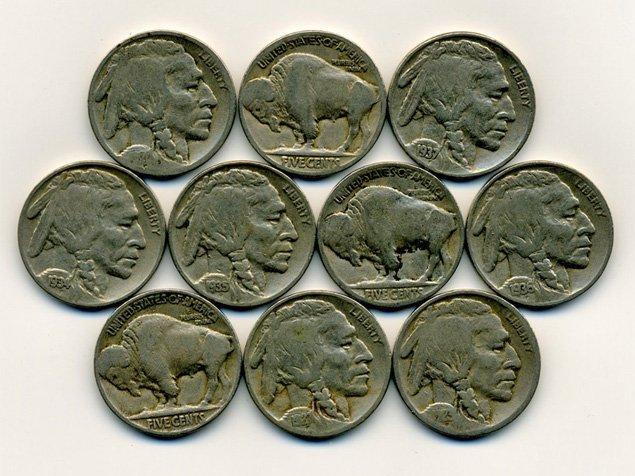 66: 10 US Buffalo Nickel Coin Lot