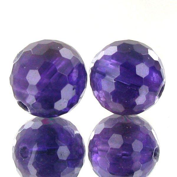 69: 13.65ct Faceted Uruguay Purple Amethyst Round Bead