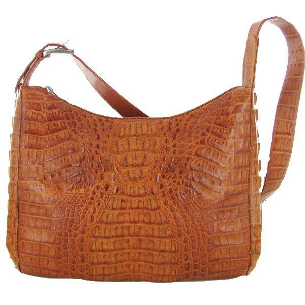 3014: Ladies Golden Tan Crocodile Skin Handbag Purse