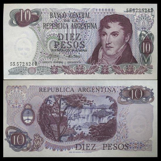 1973 Argentina 10 Peso Note Crisp Uncirculated