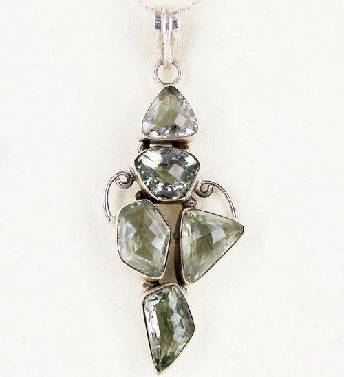 77twc Green Amethyst Silver Pendant Appr Est $15k