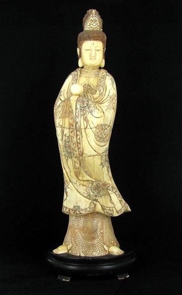 Chinese Handcarved Bone Standing Tibet Buddha on Base
