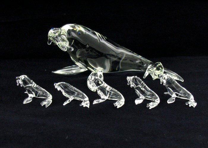 Handcrafted Glass Sea Lion Mom & Kids
