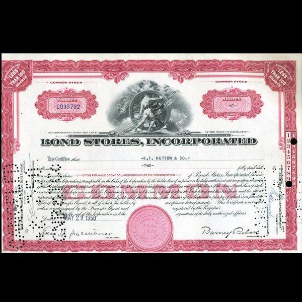 1950s Bond Stores Stock Certificate Rare