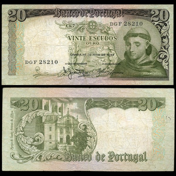 1964 Portugal 20 Escudo Note Better Grade