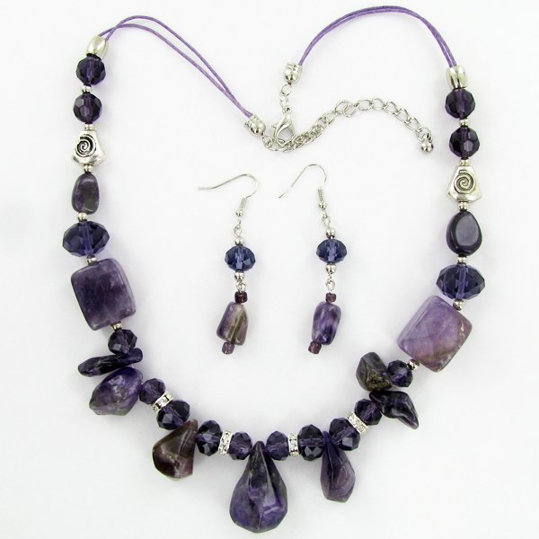 Amethyst & Crystal Necklace Earring Set