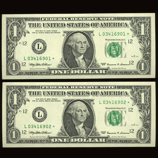 1999 $1 Star Fed Reserve Uncirculated Pair