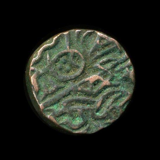 1400? India Unknown Medeival Sad Face Bronze Coin