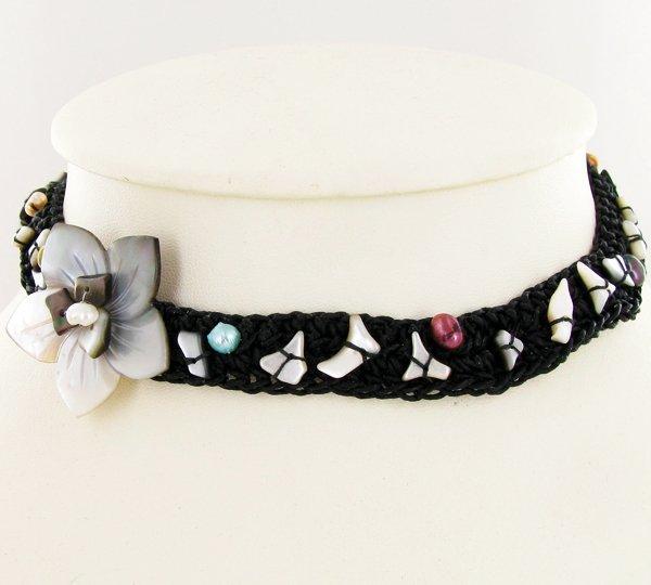 Crocheted Shell Choker Necklace