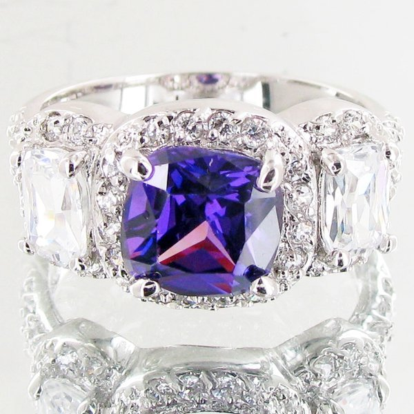 28.75twc Lab Diamond White Gold Vermeil/925 Ring