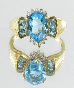 3.6ct Blue Topaz & Diamond 10k Gold Ladies Ring