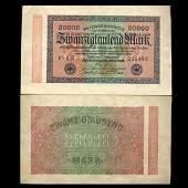 1923 Germany 20000 Mark Note Hi Grade Scarce