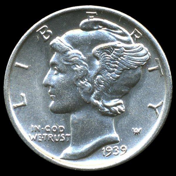 1939S Mercury Dime MS65+ FB ERROR