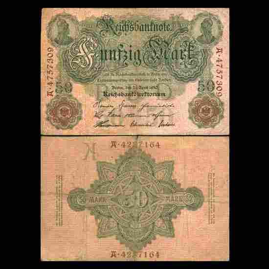 1910 Germany 50 Mark Note Hi Grade Very Scarce