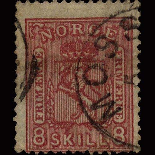 1867 Scarce Norway 8s Carmine Rose Used Stamp