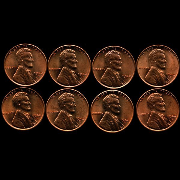 1942D Lincoln 1c MS65 RED 8pcs