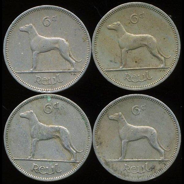 1952-64 Ireland 6p AU/UNC 4pcs