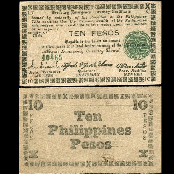 1944 WW2 Guerrilla Rebel Philippines 10P Note Negros