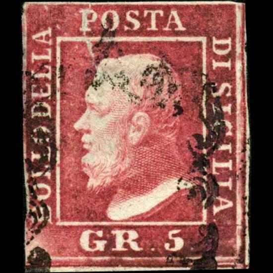 1859 Sicily 5gr Stamp