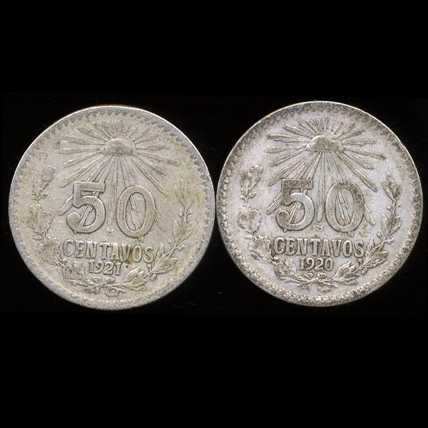 1920-21 Mexico 50c VF+ 2pcs