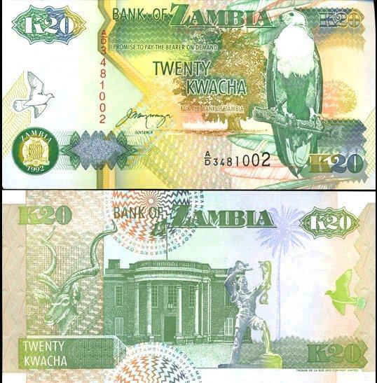 1992 Zambia 20 Kwacha Crisp Unc Note