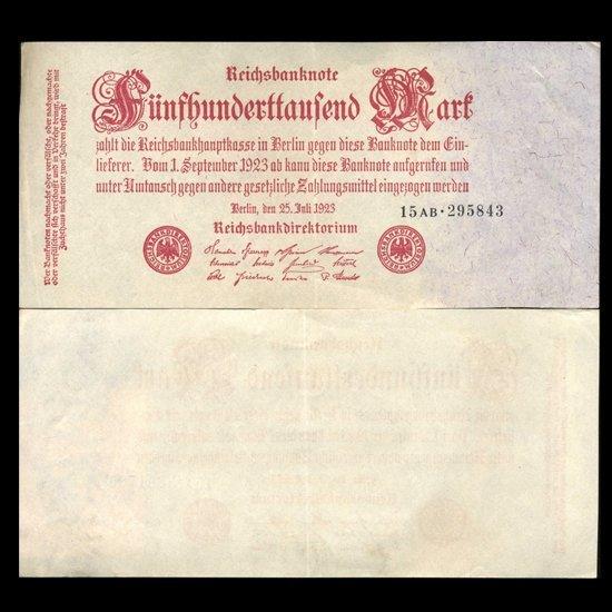 1923 Germany 500000 Mark Note Hi Grade Scarce