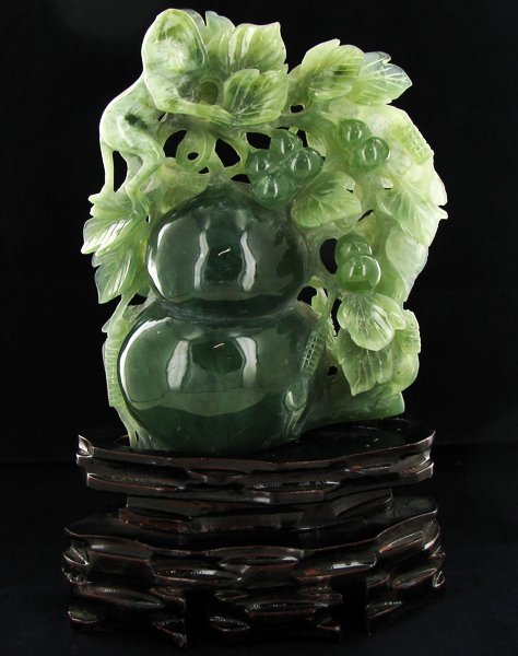 Chinese Handcarved Jade Pears on Base