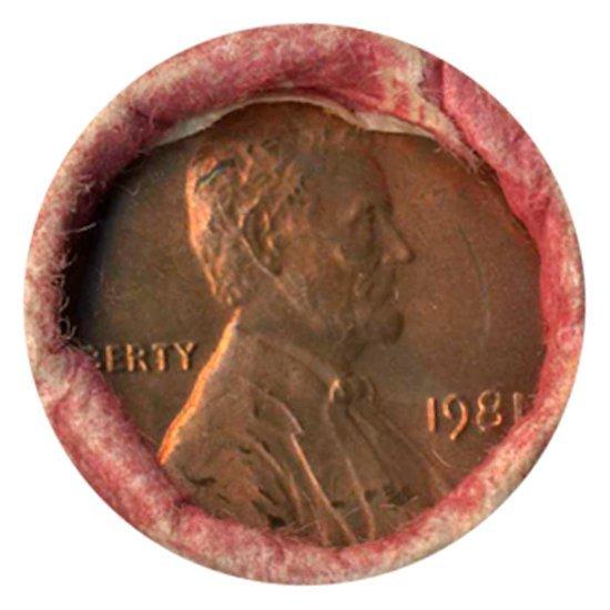 1981 Linc 1c BU Scarce UnOpened Bank Roll 50 GEMS