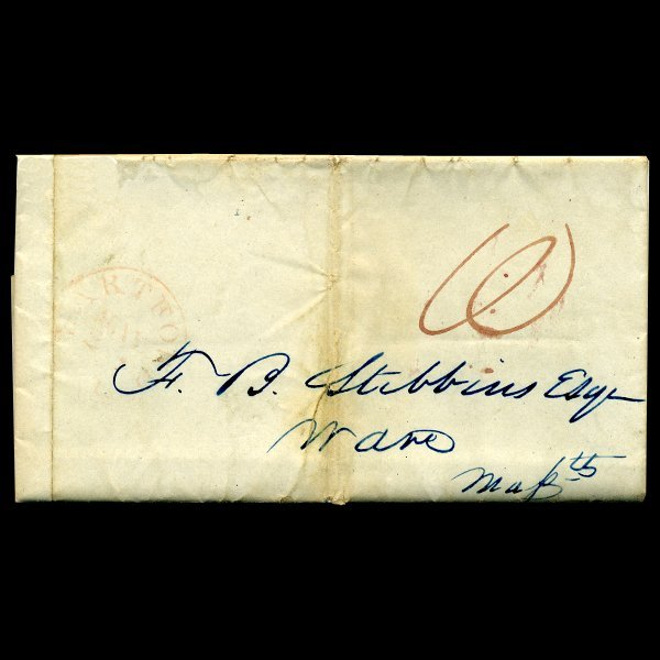 1839 Hartford CT Stampless Cover SCARCE