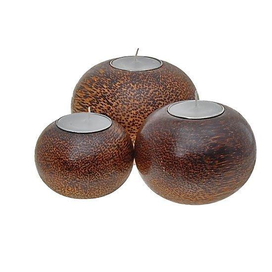 Handcrafted Sugar Palm Candle Holder Set