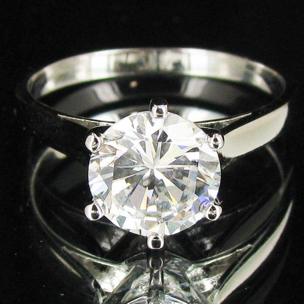 13.95twc Lab Diamond White Gold Vermeil/925 Ring