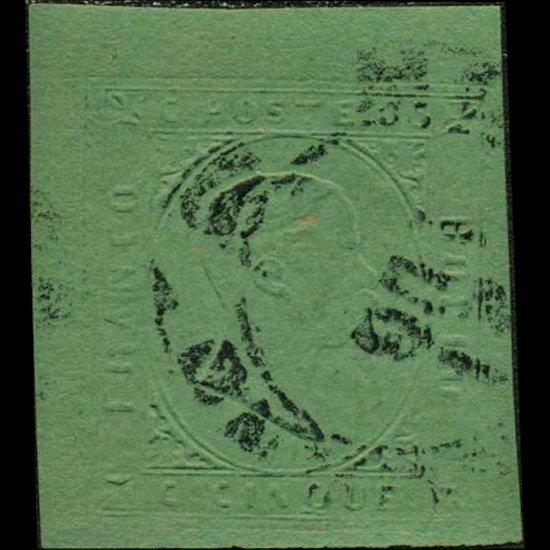 1853 Scarce Italy Sardina 5c Stamp