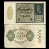 1922 Germany 10000 Mark Note Hi Grade Scarce