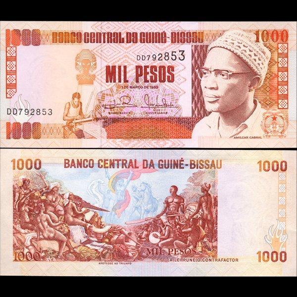 1990 Guinea-Bissau 1000 Peso Note Crisp Unc